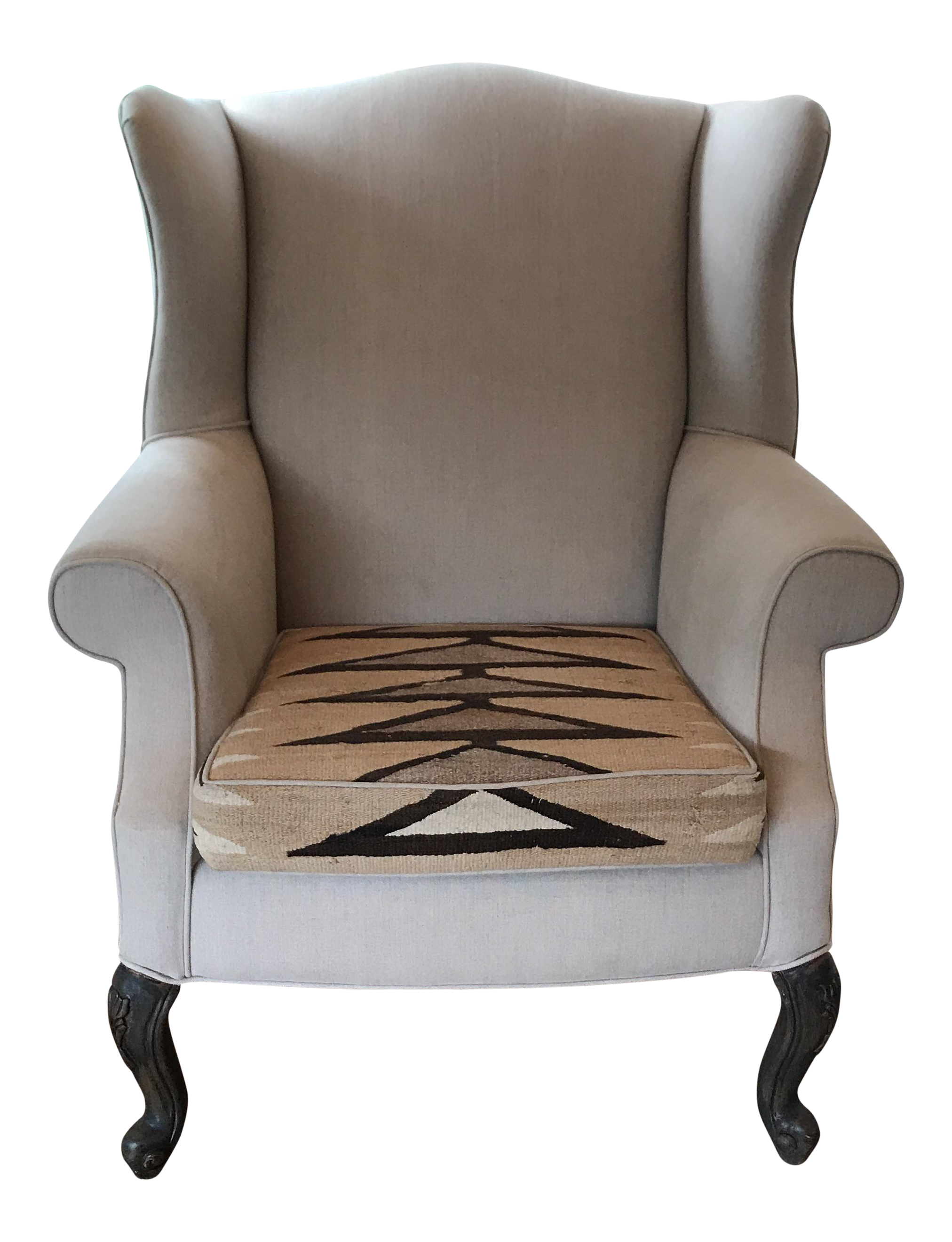 Superieur Vintage Wingback Chair Linen U0026 Navajo Style Rug   Image 1 Of 10