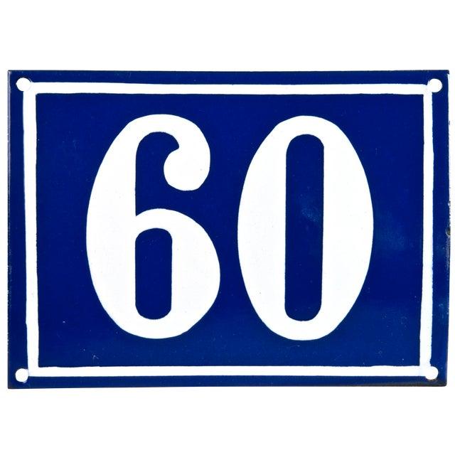 "Vintage French ""60"" Enamel House Number - Image 1 of 2"