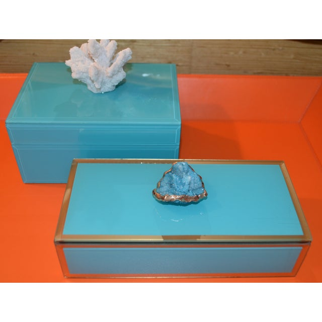 Turquoise Turquoise Geode Glass Trinket Box For Sale - Image 8 of 8