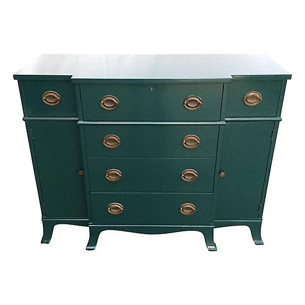 Teal Lacquered Secretary Desk - Image 1 of 7