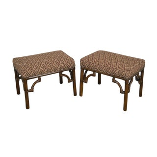 1970s Vintage Rattan Bamboo Benches / Stools - a Pair For Sale