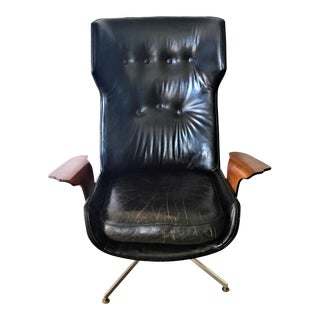 Black Plycraft Leather Lounge Chair For Sale