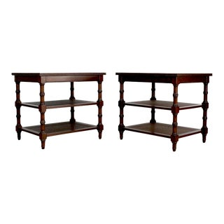 Pair of Mid-Century Walnut & Cane 3-Tiered Side Tables For Sale