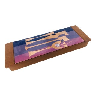 Mid Century Modern Copper and Purple Enamel Box For Sale