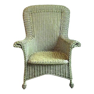 Vintage Cape Cod-Style Green Wicker Armchair For Sale