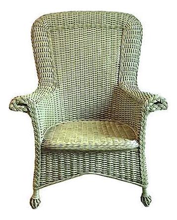 Vintage Cape Cod Style Green Wicker Armchair