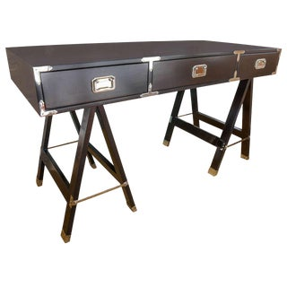 Campaign Style Deep Brown Desk For Sale