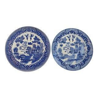 Blue Willow Dinner Plates - a Pair For Sale