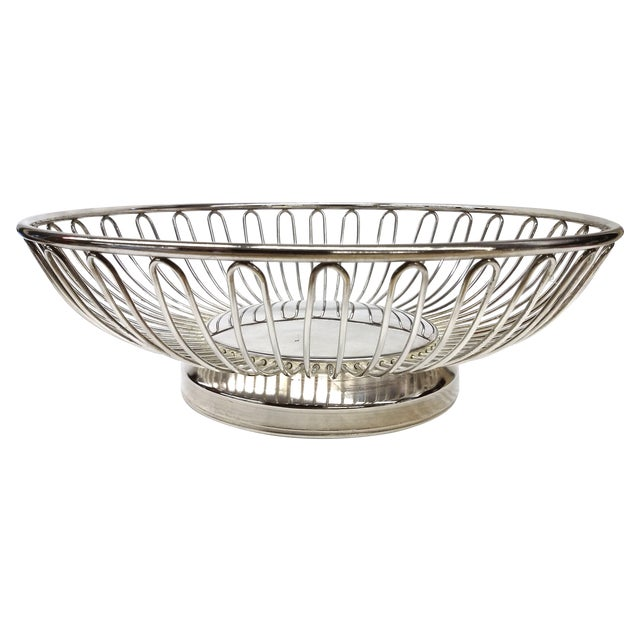 Mid-Century Silver Plate Openwork Modern Fruitbowl - Image 1 of 8
