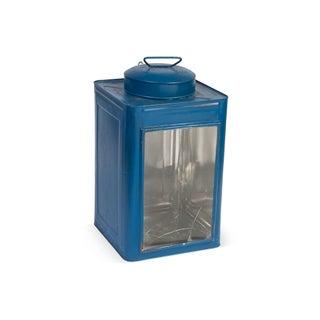 Vintage Blue Candle Lantern For Sale