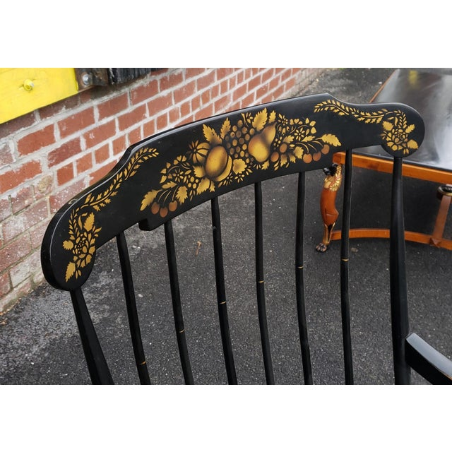 Vintage 1970s Black Hitchcock Style Painted Nichols & Stone Co. Rocking Chair Rocker For Sale - Image 10 of 11