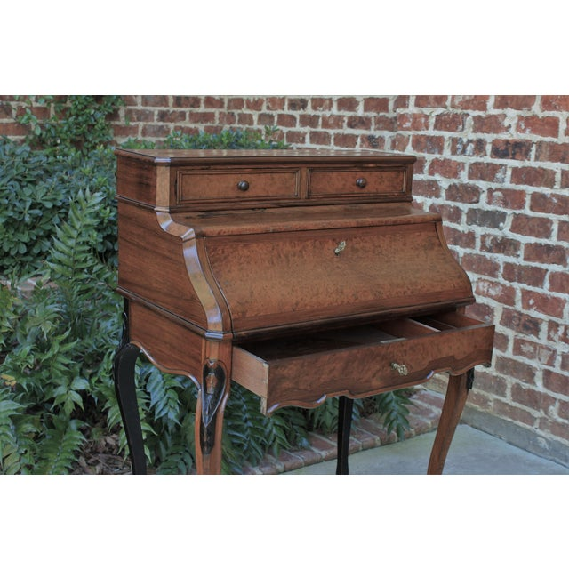 Late 19th Century Antique French Birds Eye Maple Fall Front Secretary Desk Bureau For Sale - Image 5 of 13