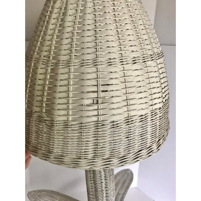 Vintage Wicker Rattan Leafed Lamps - a Pair For Sale - Image 10 of 11