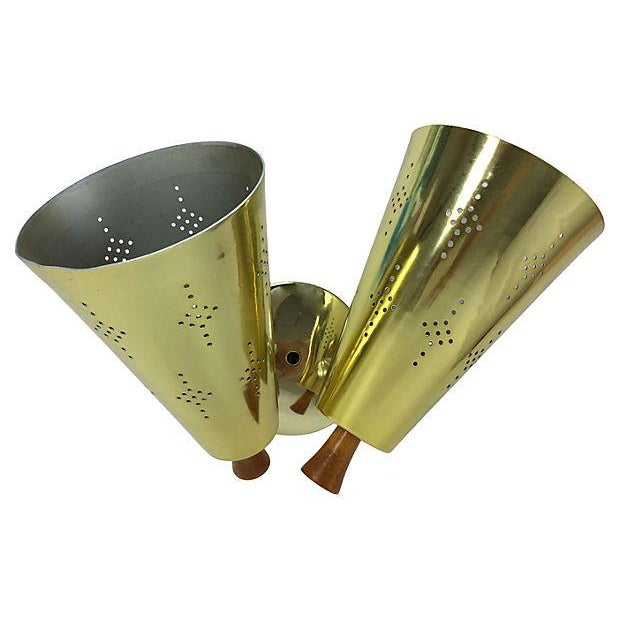 Atomic Mid-Century Double Gold Sconce For Sale - Image 7 of 7