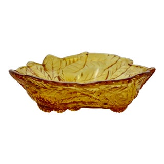 Amber Leaf & Grape Harvest Bowl For Sale