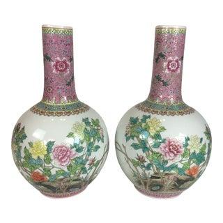Vintage Stick Neck Floral Rose Famille Porcelain Vase - a Pair For Sale