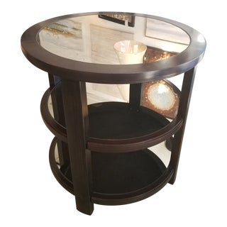 Uttermost Monteith Round Mirrored 3-Tier Side Table For Sale