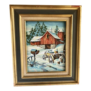 Rustic Vintage Farmhouse Winter Cottage Painting For Sale