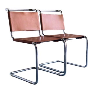 Vintage Italian Cantilevered Leather and Chrome Chairs - a Pair For Sale