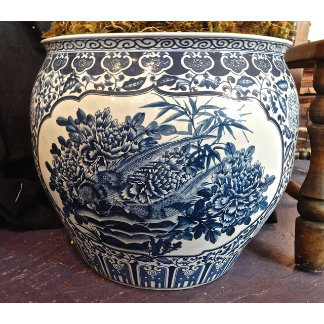 Mid 20th Century Large Chinese Blue and White Fish Bowls / Planters - a Pair For Sale - Image 5 of 8