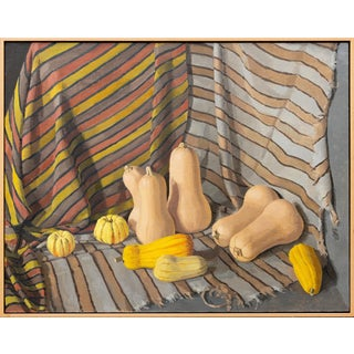 """""""Healthy Food With Stripes"""" Contemporary Still Life Oil Painting, Framed For Sale"""