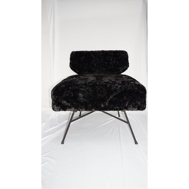 Rare Elettra chair set, midcentury matching twin black plush faux fur armchairs with painted tubular metal frames,...