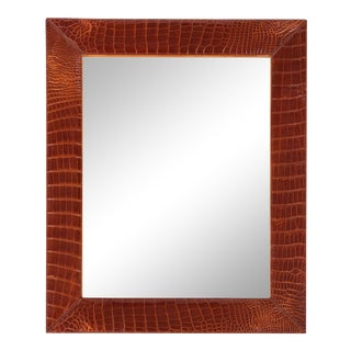 French Mid-Century Alligator Mirror with White Contrast Stitching For Sale