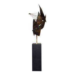 Vintage Mid-Century Modern Brutalist Torch Cut Brass & Wire Floor Sculpture 1960's