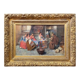 """Late 19th Century """"Interior Scene With Peasant Women and Monk"""" Watercolor Painting by Augusto Daini, Framed For Sale"""