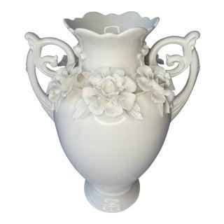 1970s Large White Porcelain Floral Vase For Sale