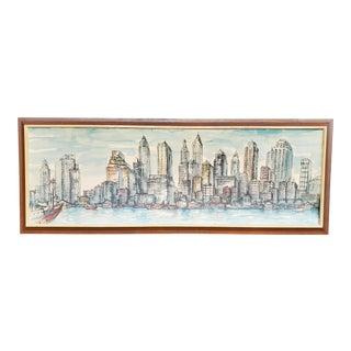 Vintage 1960s Mid Century Modern Cityscape Skyline Metropolitan Print, Framed For Sale