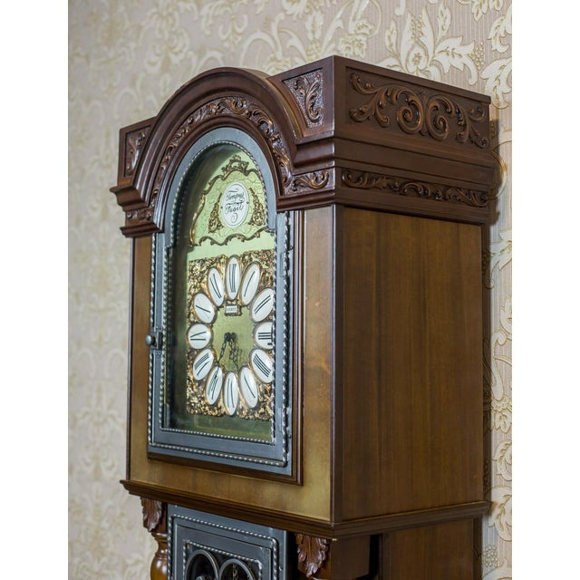 Brown 20th Century Tempus Fugit Grandfather Clock with a Chime For Sale - Image 8 of 13