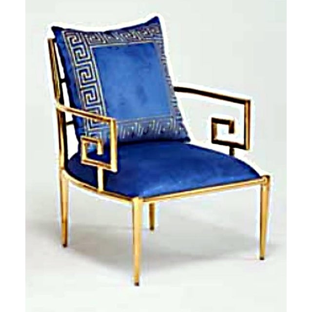 Asian Pair of Asian Modern Greek Key Arm Chairs For Sale - Image 3 of 5