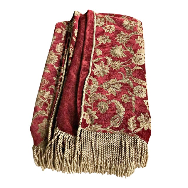 Velvet Floral Red and Gold Throw - Image 1 of 8