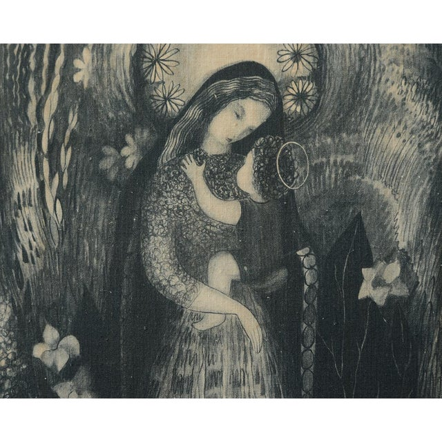 Mid-Century Modern Mid-Century Ilse Roempke Textile Madonna & Child Wall Hanging For Sale - Image 3 of 5