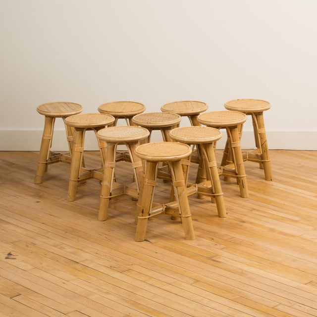 Contemporary Modern Bamboo and Rattan Stool For Sale - Image 3 of 10