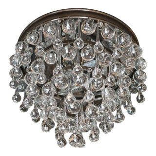 Hollywood Teardrop and Crystal Ball Chandelier with Chrome and Handblown Glass For Sale