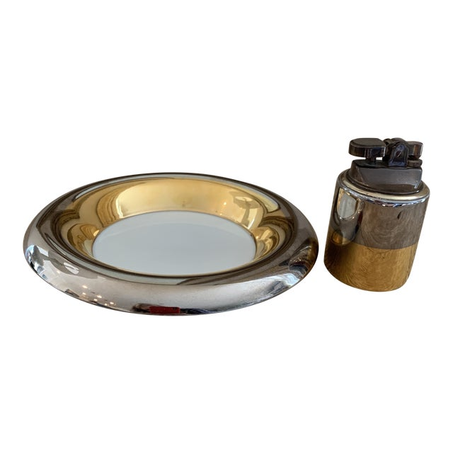 Mid Century Metallic Porcelain Fitz & Floyd Lighter and Ashtray For Sale