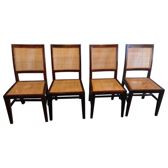 Crate & Barrel Cane Dining Chairs - Set of 4 - Image 1 of 9