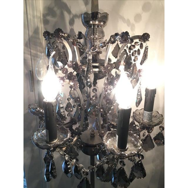 19th C. Rococo Iron & Smoke Crystal Table Lamp - Image 3 of 8
