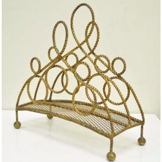 Vintage Italian Hollywood Regency Gold Gilt Iron Rope Tole Magazine Holder For Sale - Image 11 of 11
