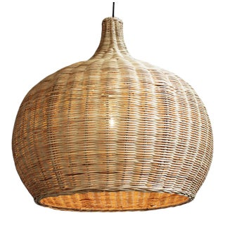 Raw Wicker Bell Lantern Large For Sale