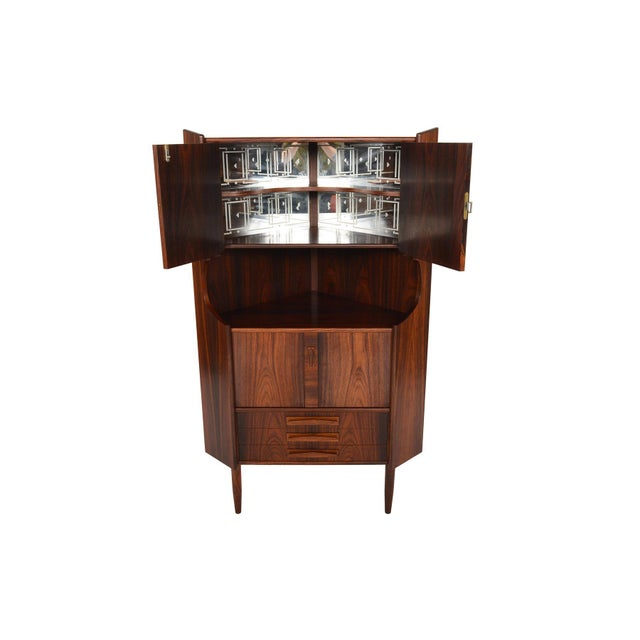 Danish Modern Rosewood Corner Bar - Image 3 of 9
