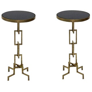 Contemporary Flynn Iron Accent Side/End Tables - a Pair For Sale