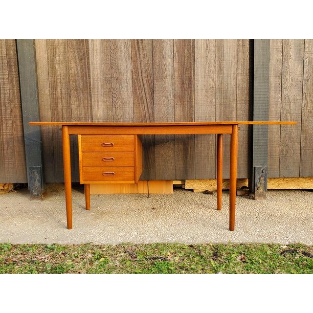 1950s Midcentury Danish Modern Arne Vodder Danish Teak Drop Leaf Desk For Sale In Baltimore - Image 6 of 13