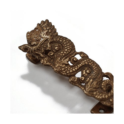 Chinese Dancing Dragon Brass Door Pull For Sale - Image 4 of 5