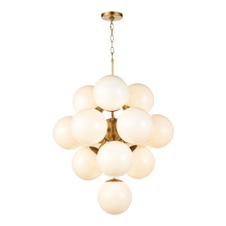La Dame Chandelier in White Glass Natural Brass For Sale
