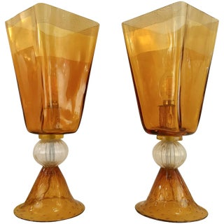Linea Padovan 1970s Vintage Amber Gold and Crystal Murano Glass Lamps - a Pair