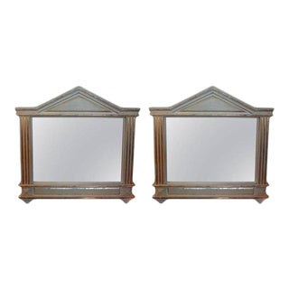 Antique Italian Neoclassical Palladian Style Painted and Parcel Giltwood Mirrors-Pair For Sale