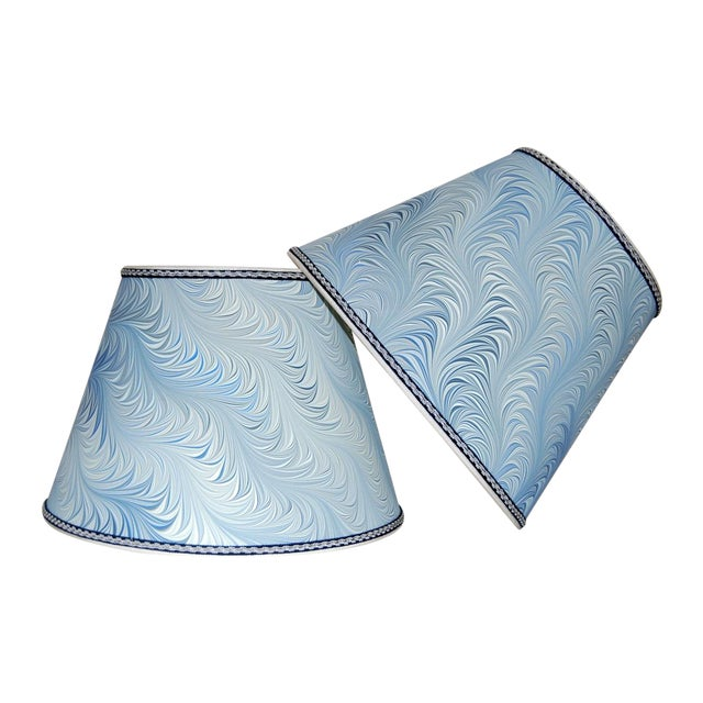 Italian Blue & White Marble Lampshades - A Pair - Image 1 of 4